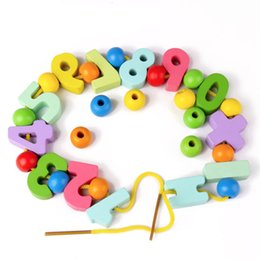 Number Blocks Australia - Children Hand-made Decorative Wood Number Beads Numeral Charms Chips Color Mixed Digital Wooden Block Teaching Materials Toys