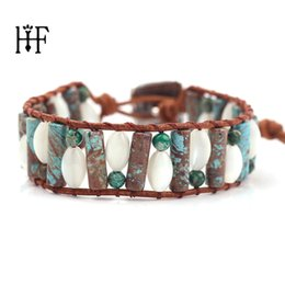 Discount precious gold - Women Boho Bracelets Natural Stones Crystal Seed Beads Single Leather Wrap Bracelet Semi Precious Stone Beaded Cuff Brac
