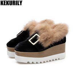 Fur Shoes Rabbit Women Australia - Winter Rabbit fur Wedge Oxfords Platform Shoes Women Suede Metal Buckle Square Toe Shoe Casual Slip on Loafers Black Pumps #37539