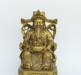 China Pole Australia - God of Wealth Home Opening Pure Copper Wen Cai Shen Decoration Cornucopia God of Wealth Buddha Lucky Town House
