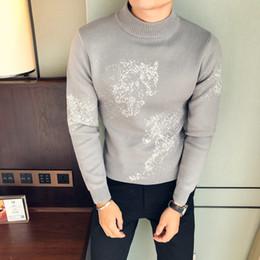 Sweater Man Winter Korean Australia - High Quality Korean Sweater Men Brand New Slim Fit Casual Dress Mens Sweaters Long Sleeve Winter Half High Collar Pull Homme 3XL