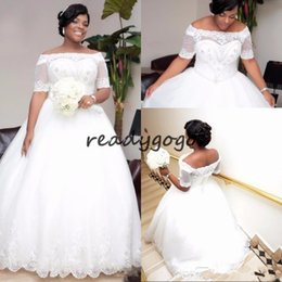 $enCountryForm.capitalKeyWord Australia - African Plus Size White Ivory 2019 Ball Gown Wedding Dresses With Sleeves Boat Neck Beaded Crystals Wedding Dress Wedding Gowns