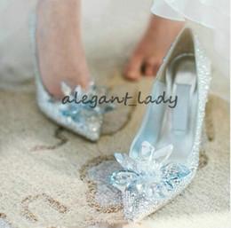 EuropEan high hEEl shoEs online shopping - Cinderella European Wedding Shoes Female Rhinestone Crystal Shoes Stiletto Pointed Red Bridal Shoes Fashion Bridesmaid High Heel