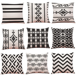 Black Striped Pillow Case Geometric Flower Wave Throw Cushion Pillow Cover Printed Cushion PillowCase Bedroom Office Home Decoration 45*45CM on Sale