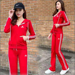Korean sportswear online shopping - Casual sports suit female spring and autumn new wave Korean fashion slim large size long sleeved sportswear