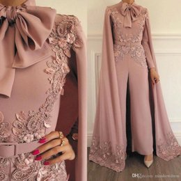 Wholesale jumpsuit party dress online – ideas Woman Jumpsuit Vintage Capped Lace Applique Beaded For Evening Party Long Sleeves Floor Length Formal Muslim Dresses Gowns