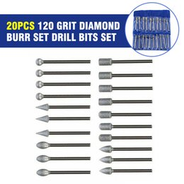 rotary burr set Australia - 20Pcs 120 Grit Diamond Burr Set Drill Bits Set For Dremel Tool Rotary Grinding Hand Tool For Woodworking Electrial New