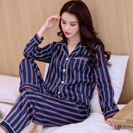 Ladies siLk nightgowns Long online shopping - Spring Autumn Sleepwear Ladies Silk Long Sleeve Plus Size Nightwear Women Fashion Korean Ice Silk Home Clothes Nightgown H5593