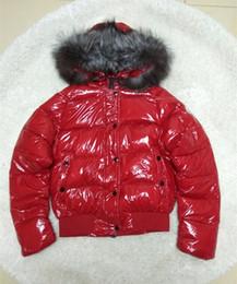 Fiber Fox NZ - Branded Women Appliques Warm Fox Fur Short Length Bright Down Jacket Girl Side Pocket Hooded Lightweight Quilted Coat