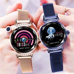 Heart Rate Glasses Australia - H2 Smart Wristband Women 3D Diamond Glass Heart Rate Blood Pressure Sleep Monitor Waterproof Smart Watch