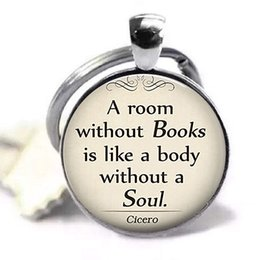 $enCountryForm.capitalKeyWord NZ - A Room Without Books Cicero Quote Keychain Keyring Book Pendant Glass Dome Gift for Student Teacher