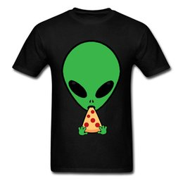 Wholesale pizza clothes online – oversize Aliens Love Pizza T Shirts Men Tshirt Funny Summer T shirt Black Clothes Cotton Cartoon Tops Leisure Tee Shirts Thanksgiving Day