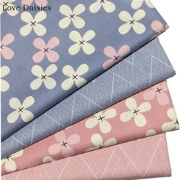 $enCountryForm.capitalKeyWord Australia - 100% Cotton Twill Fabric Pastoral PINK BLUE Simple White Pink Flower Big Chevron for Handwork Sheet Apparel Dress Patchwork