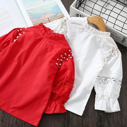 Best Wholesale T Shirts Australia - Lace Girls Tops Blouses 2019 new Spring Autumn Girls Shirts pearl Long Sleeve T Shirts Best Shirts kids designer clothes girls Shirt A3350