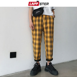 $enCountryForm.capitalKeyWord NZ - LAPPSTER Streetwear Yellow Plaid Pants Men Joggers 2019 Man Casual Straight Harem Pants Male Korean Summer Track Plus Size
