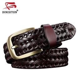Black leather girdles online shopping - DINISITON Woven belt genuine leather women s straps man belts Wide girdle Male cow skin vintage fashion brand ceinture femme