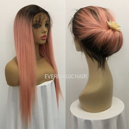 Silky Straight Ombre Wig Australia - Ombre T1B Pink Full Lace Human Hair Wigs Silky Straight Brazilian Virgin Human Hair 150 Density Lace Front wig With Baby Hair Glueless