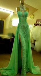 china dress zipper Australia - 2019 Emerald Green Evening Dresses High Collar with Crystal Diamond Arabic Evening Party Gowns Long Side Slit Dubai Prom Dresses Made China