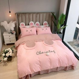 Kids Cartoon Bedding Set King Size Australia - Twin Queen King size Pink Kids Girls Bedding Set 100%Cotton Bedsheet Duvet Cover Fitted sheet Bed set ropa de cama parure de lit
