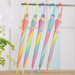 $enCountryForm.capitalKeyWord Australia - Rainbow Long Handle Umbrella Straight Parasol Wind Proof Paraguas Travel Outdoors Rain Gear Office Lady Women Colorful Umbrellas