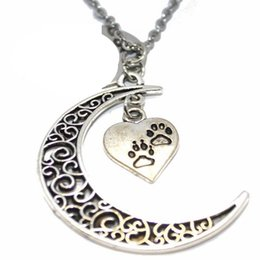 $enCountryForm.capitalKeyWord Australia - Filigree Crescent Moon Heart Dog Paw Print Necklace Pendant Vintage Silver Collares Chain Statement Necklaces For Women Jewelry Craft Gifts