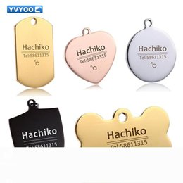 engraved pet id tags Canada - YVYOO Dog cat tag Dog collar Stainless steel Free engraving Pet Dog Cat collar accessories ID tag name telephone BB