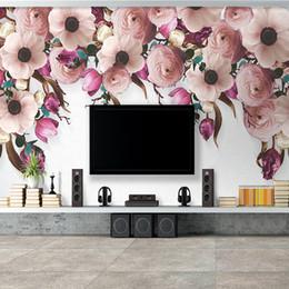 Interior Decor Styles Australia - Custom Photo Wallpaper European Style Hand Painted Floral Flower Vine Modern Bedroom Living Room Interior Decor Mural Wallpaper