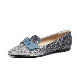 Kmeioo Women Shoe Glitter Flats Slip On Ladies Shoes Bling Bow Tie Flat  Heel Shoes Pointed Toe Female Shoes 1658c36265d5