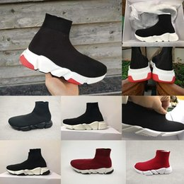 $enCountryForm.capitalKeyWord Australia - 2018 Luxury Sock Shoe Speed Knitted Trainers Casual Sneakers Speed Trainer Sock Race Fashion Black Shoes Men Women Sports Shoes All RED