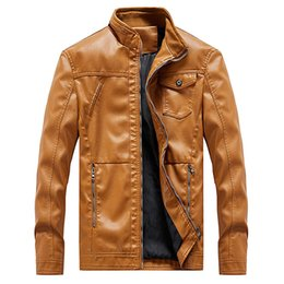 leather zippers Australia - Idopy Autumn New Long Sleeve Men`s Faux Leather Jacket Full Zipper Stand Collar Motorcycle Biker Jacket Coat Plus Size L-6XL