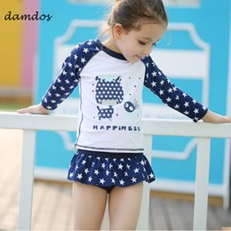 two piece dresses for kids 2019 - Swimwear 2019 for Children With Sleeve UPF50+ UV Protected Beach Dress Two Piece Kids Swimsuit Bathing Suit Swimwear for
