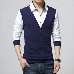 Wholesale mens causal shirt resale online - Brand Autumn Mens T Shirts Fashion Cotton Causal Designer Clothing Cool T shirt Men Long Sleeve T Shirt Casual Male