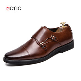 Discount monk formal shoes men - ECTIC Big Size 38~47 Leather Men Formal Shoes Pointed Toe Weddings Monk Strap Dress Business Office Style Gentleman