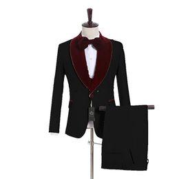 $enCountryForm.capitalKeyWord UK - Black White Champagne Groom Tuxedos Burgundy Velvet Lapel Mens Wedding Tuxedos Man Jacket Blazer 3 Piece Suit(Jacket+Pants+Vest+Tie) 171