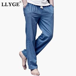 da362b020b69 Llyge algodón de lino para hombre pantalones largos más el tamaño 5xl Ocio  Negro azul de pierna ancha Pantalones Hombre suelto Verano Streetwear Ropa  ...