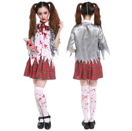 devil costumes women Australia - New Halloween Women Scary Cosplay Costume Sexy Bloodstain Zombies Student Uniform Exotic Carnival Devil School Party Games Play