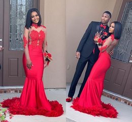 Wholesale new fashion african lace dresses resale online - African Arabic Red Mermaid Prom Dresses New Fashion High Neck Sheer Long Sleeves Lace Appliques Evening Party Gowns with Feather Train