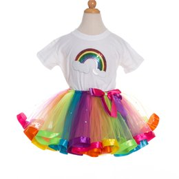 $enCountryForm.capitalKeyWord UK - New Kind of Childrens Suit of Cotton Sequin Tshirt Tutu Mesh Skirt for European and American Girl Princess Skirt