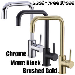 Brushed Brass Kitchen Faucet Australia - Kitchen Faucet Brass 360 Degree Hot And Cold Kitchen Water Tap Mixer Dual Sink Rotation With Aerator For Kitchen Brushed Gold