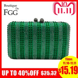 purple crystal evening clutch bag Australia - Boutique De FGG Green & Clear Striped Women Crystal Clutch Evening Bag Wedding Party Cocktail Rhinestone Metal Handbag Purse D18110106