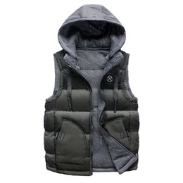 Wholesale Men s Winter Coat Double sided Wear Cotton Warm Hooded Thick Vest Jacket TopCasual Hoodies Jacket Overcoat Top pocket female
