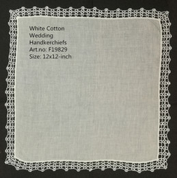 lace handkerchiefs UK - Set of 12 Home Textiles Fashion Wedding Bridal Ladies Cotton Handkerchiefs Vintage Crochet Lace Hankies Mother of the Bride Ha
