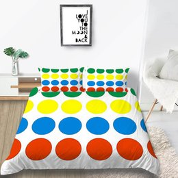 white single beds Australia - Colorful Dots Bedding Set White Simple Creative Duvet Cover King Queen Twin Full Single Double Soft Bed Cover with Pillowcase