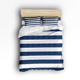 $enCountryForm.capitalKeyWord UK - Twin Size Bedding Set- Nautical Stripe Design Duvet Cover Set Bedspread for Children Kids Teens Adults, 4 Piece -Navy and White