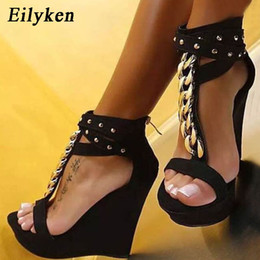 $enCountryForm.capitalKeyWord NZ - wholesale 2019 New Gladiator Women Sandals High Heels Fashion Sandals Chain Platform Wedges shoes For