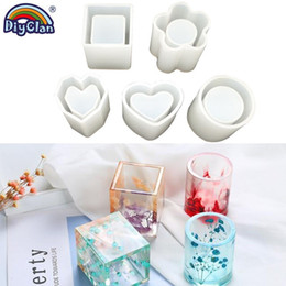 epoxy tools NZ - Diy Cuboid Cylinder Pen Container Epoxy Silicone Mold Handmade Sleek Heart Flower Shape Cylinder Mold For Resin Art Craft Tools