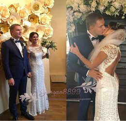 Cheap Short Backless White Dress Australia - 2019 simple Cheap lace sweep train Sheath Wedding Dress with backless vintage sheer lace short Sleeve country garden beach Bridal Gowns