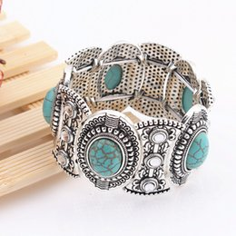 Turquoise Bracelets Silver Toggles Australia - free shipping Turquoise bracelets fashion jewelry green turquoise bangle retro bracelet silver plated with crystal -P