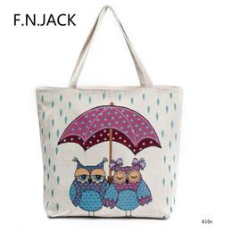 Zipper Bags Australia - F.N.JACK Women Single Shoulder Bags Jacquard Embroidered Owl Printing Canvas Handbag Tourist Ethnic Girl Shopping Zipper Bag