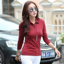 Wholesale Japan Korea New Trend Lady Women Long Sleeve Casual Shirt Knit Cotton s Autumn Winter Tops Tees Red White Lapel Button